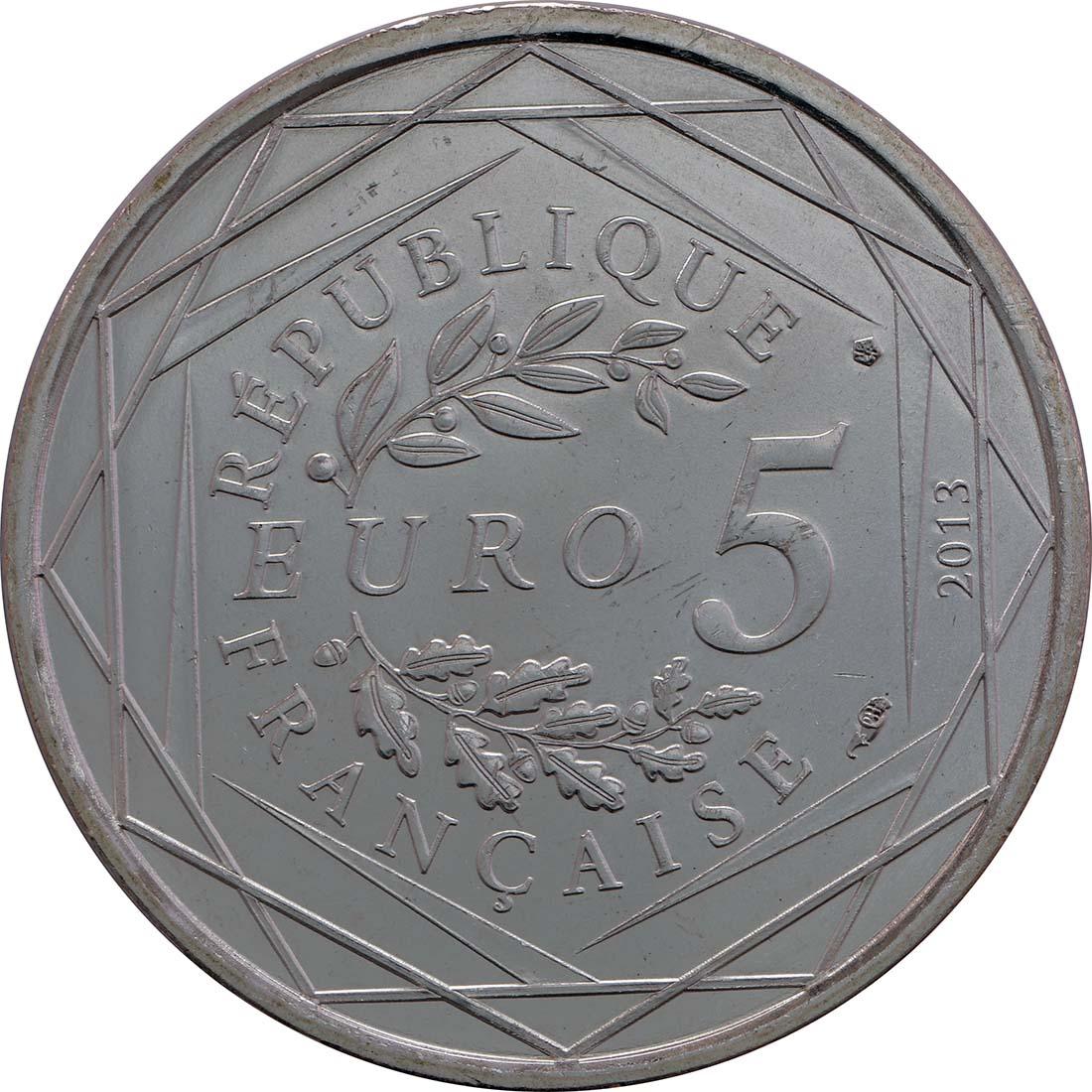Rückseite:Frankreich : 5 Euro Brüderlichkeit  2013 Stgl.