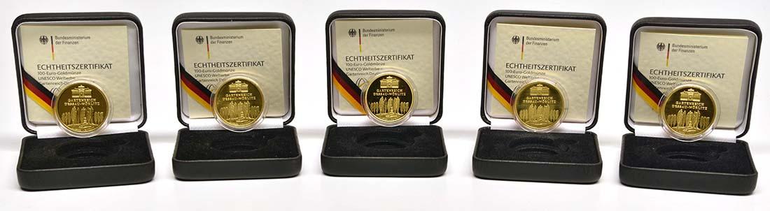 Lieferumfang :Deutschland : 100 Euro Gartenreich Dessau-Wörlitz Komplettset A,D,F,G,J 5 Münzen  2013 Stgl.