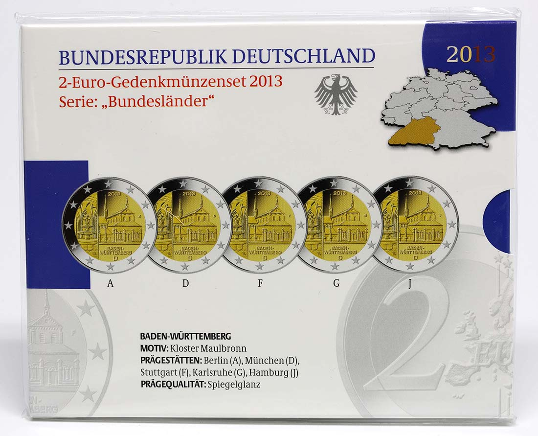 Lieferumfang :Deutschland : 2 Euro Baden Württemberg - Zisterzienserkloster Maulbronn Komplettsatz 5x2 Euro  2013 PP