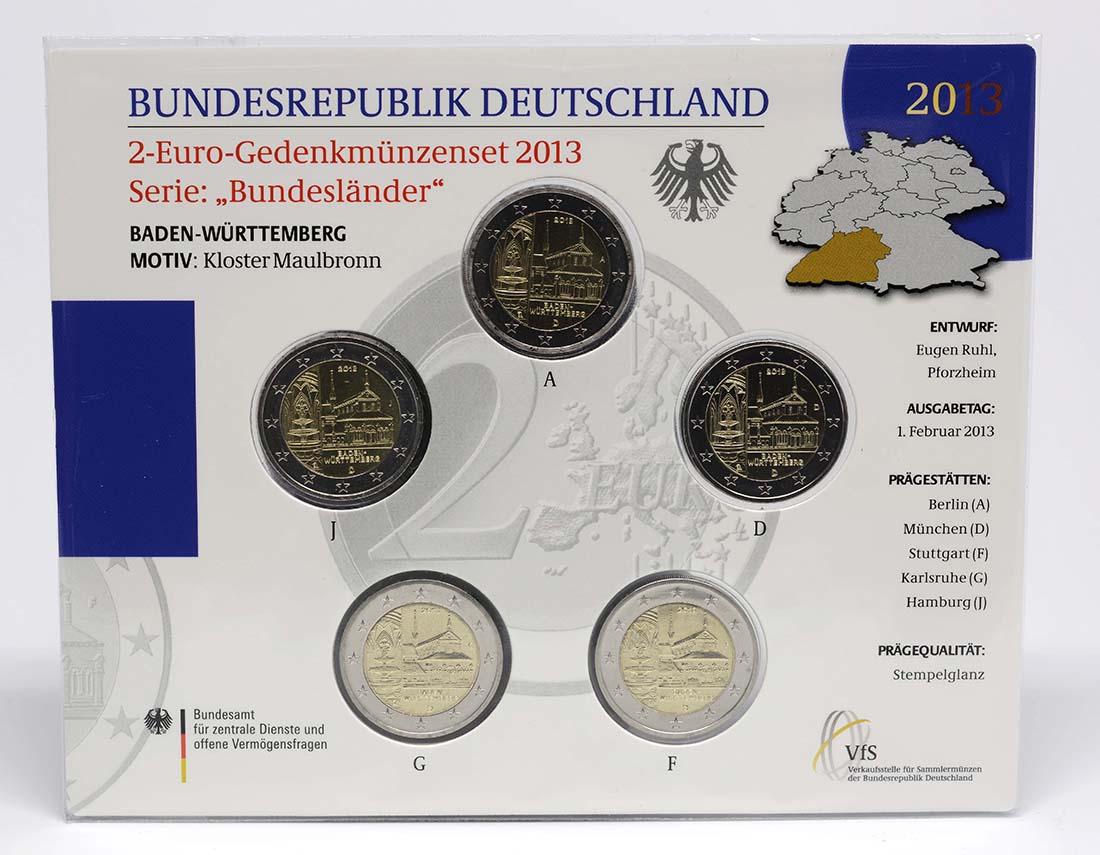 Lieferumfang:Deutschland : 2 Euro Baden Württemberg - Zisterzienserkloster Maulbronn Komplettsatz 5x2 Euro  2013 bfr