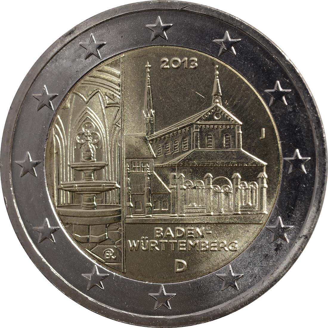 Rückseite:Deutschland : 2 Euro Baden Württemberg - Zisterzienserkloster Maulbronn  2013 Stgl.