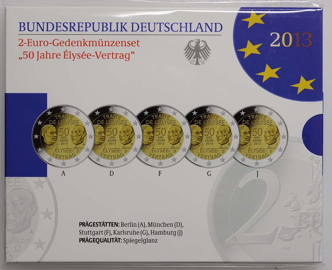Lieferumfang:Deutschland : 2 Euro Elysée-Vertrag Komplettsatz 5x2 Euro  2013 PP