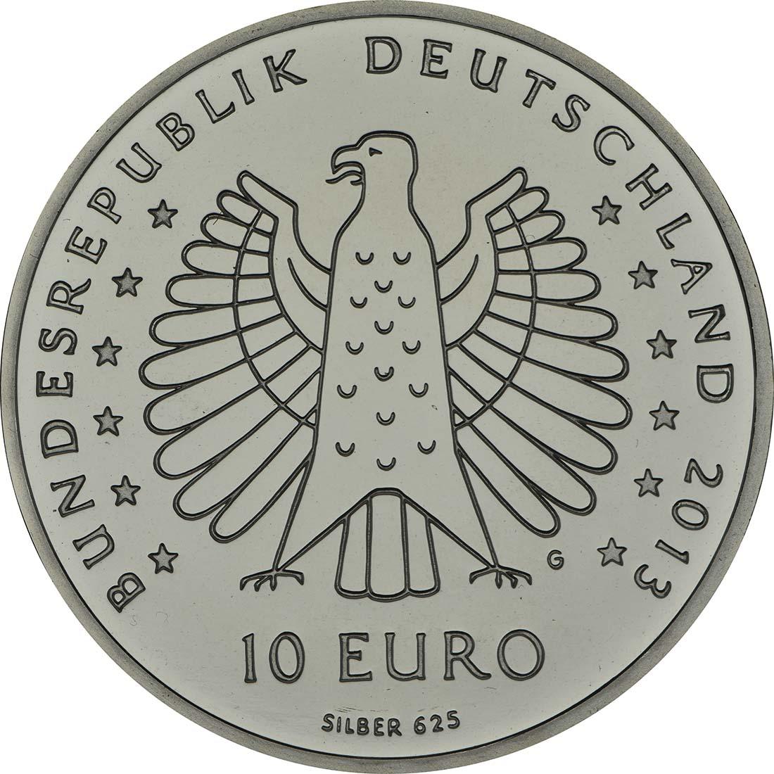 Rückseite:Deutschland : 10 Euro 125 Jahre Strahlen elektrischer Kraft - Heinrich Hertz  2013 PP
