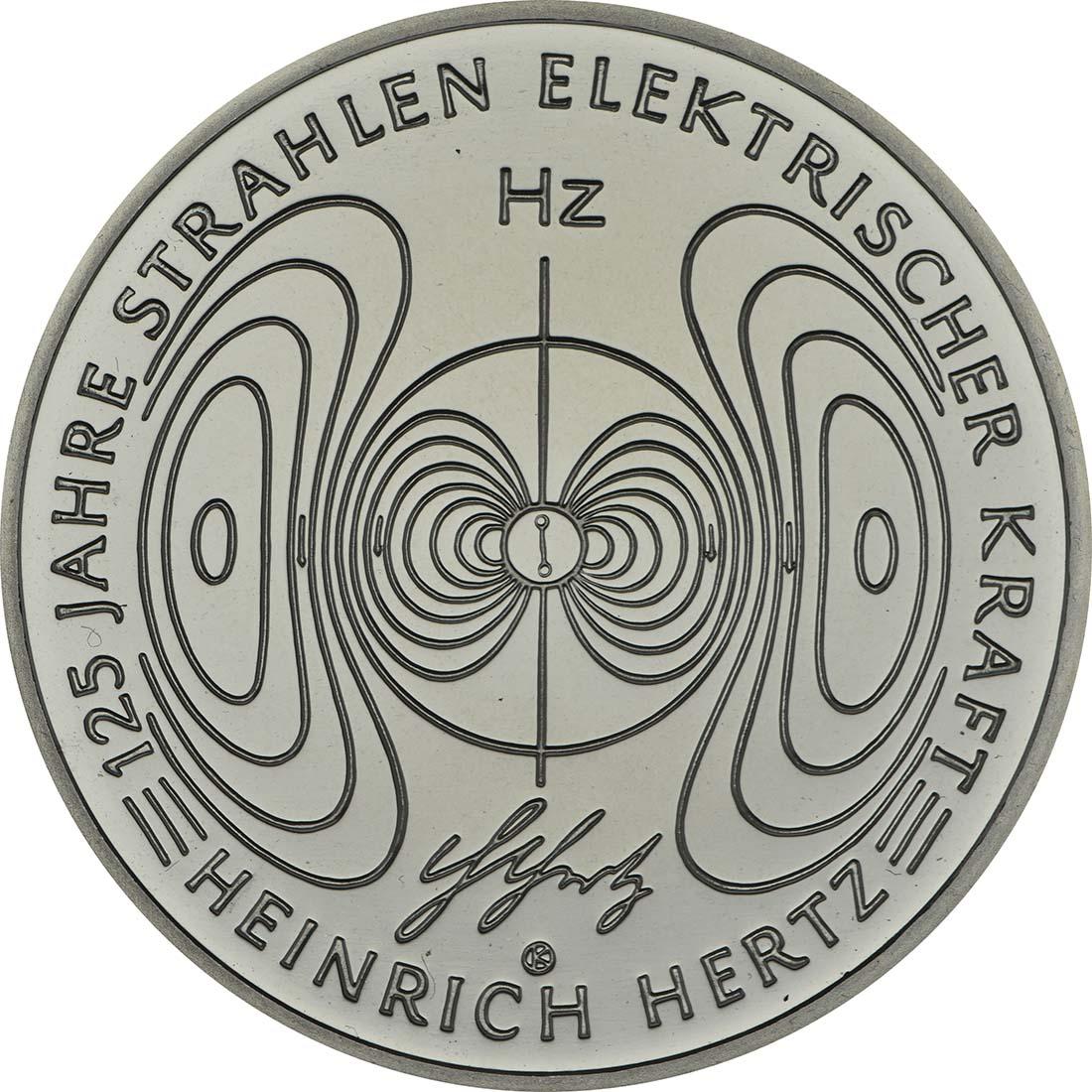 Vorderseite:Deutschland : 10 Euro 125 Jahre Strahlen elektrischer Kraft - Heinrich Hertz  2013 PP