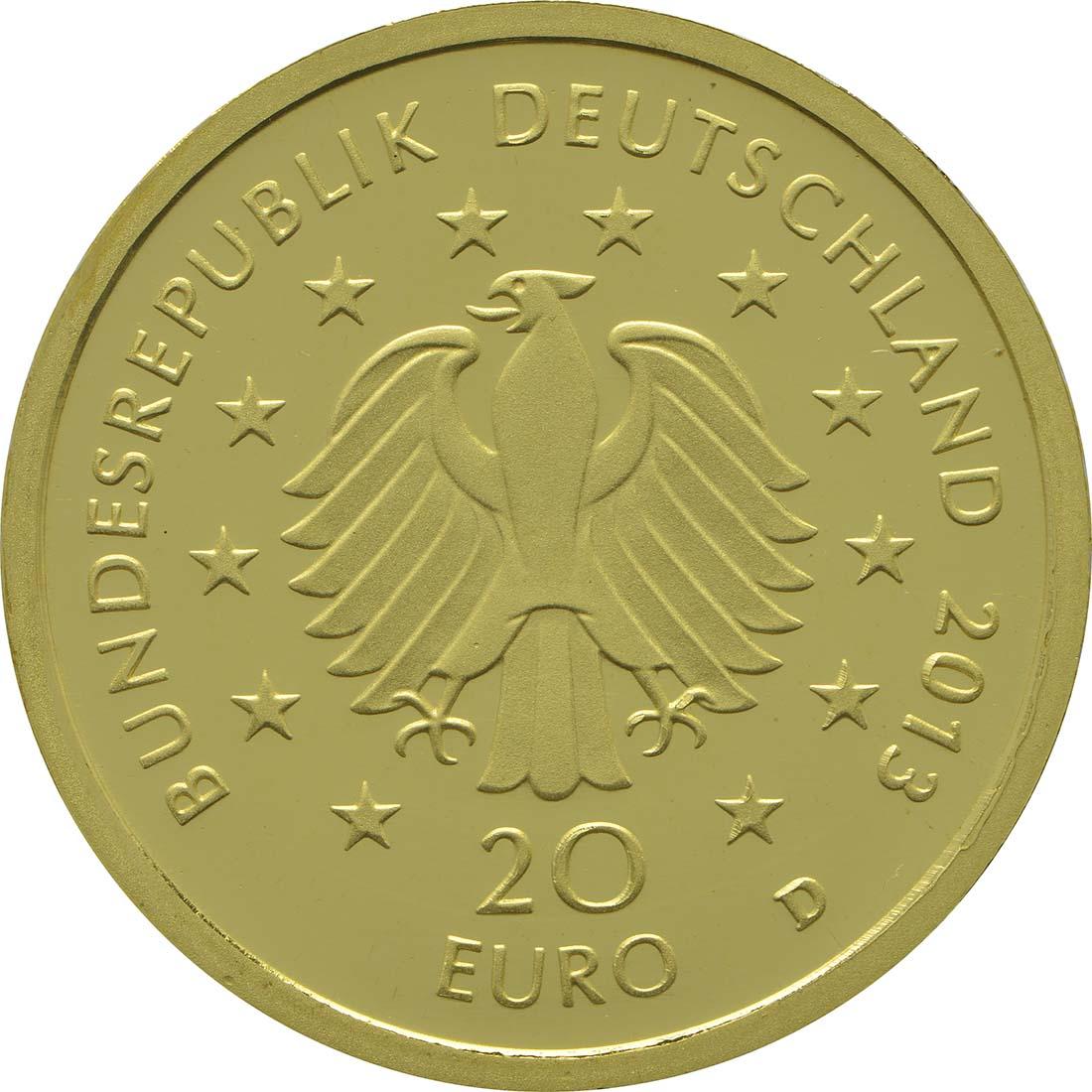 Rückseite :Deutschland : 20 Euro Kiefer Buchstabe unserer Wahl  2013 Stgl.