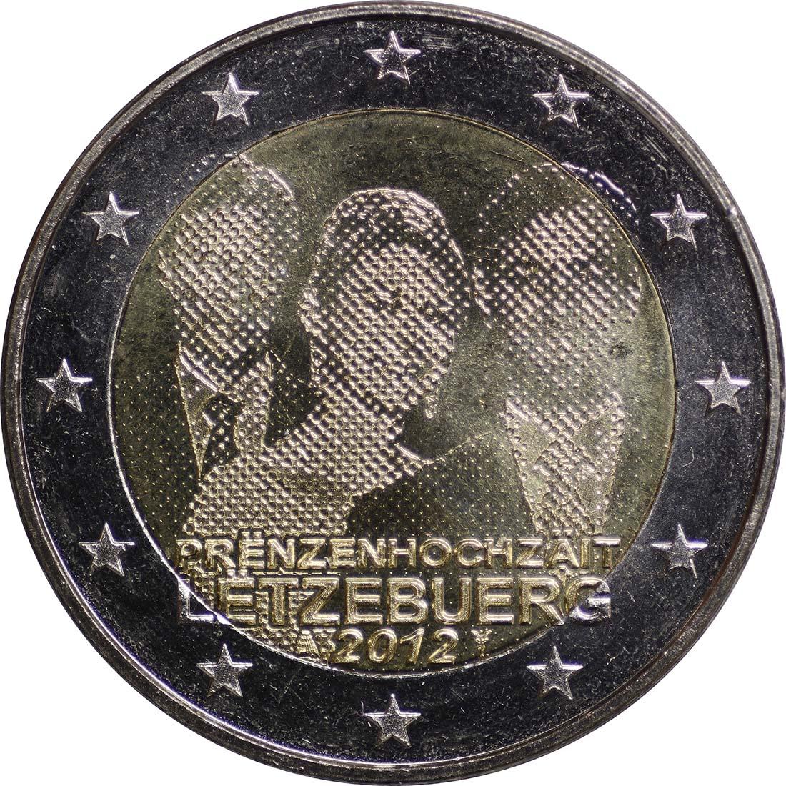 Rückseite :Luxemburg : 2 Euro Hochzeit Guillaume und Stephanie  2012 bfr