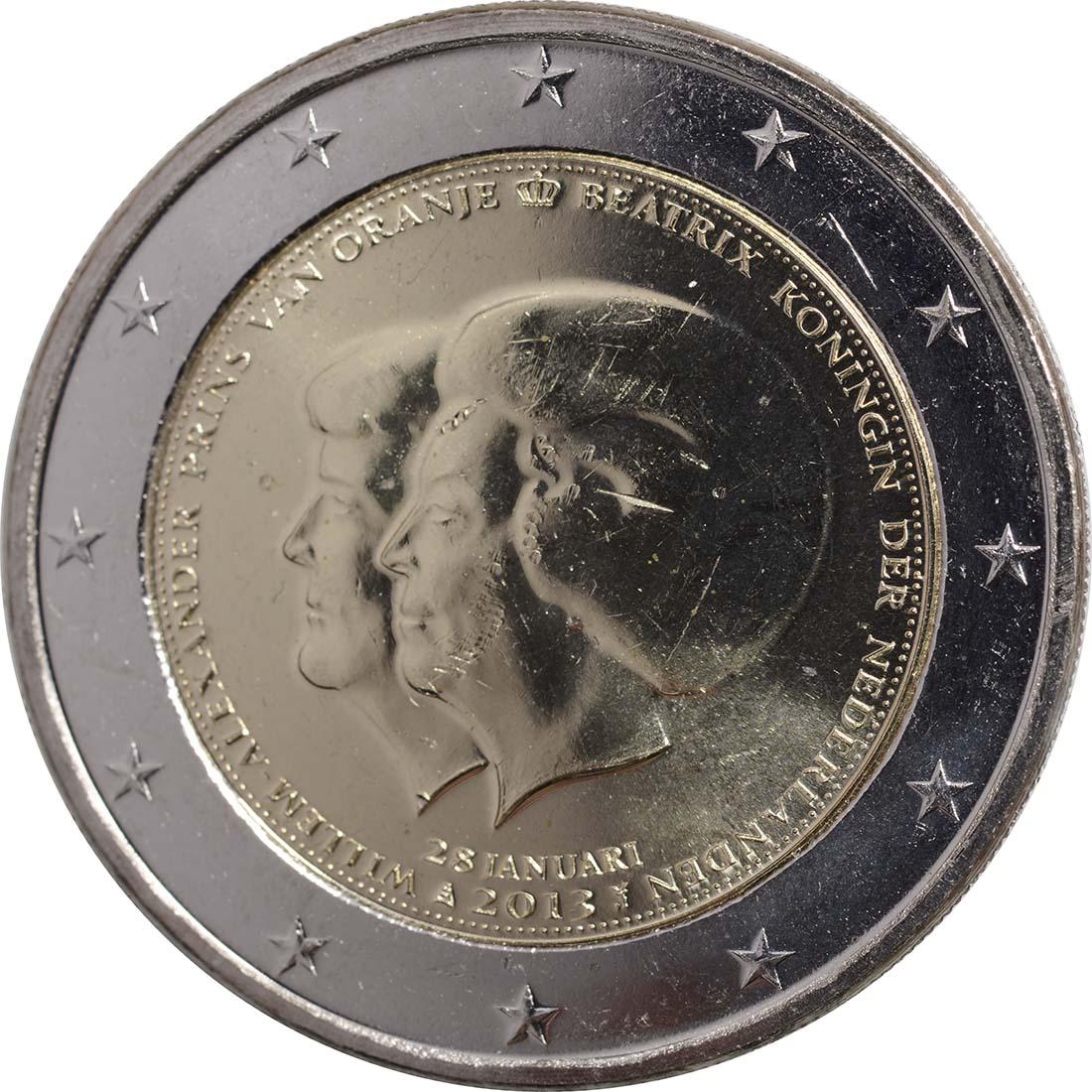 Rückseite:Niederlande : 2 Euro Thronwechsel - Doppelportrait Beatrix / Willem Alexander - Originalrolle 25 Münzen  2013 Stgl.