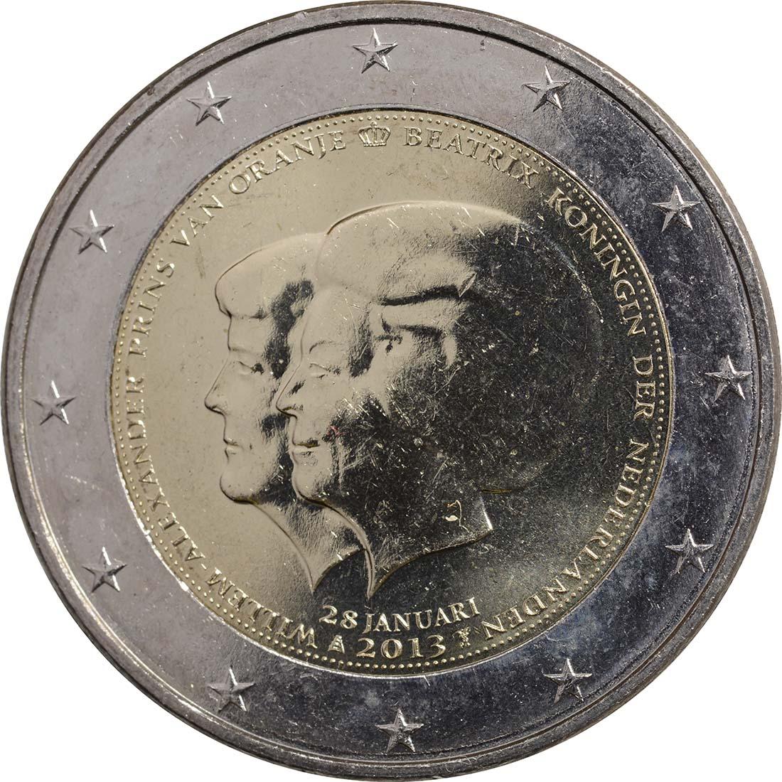 Rückseite :Niederlande : 2 Euro Thronwechsel - Doppelportrait Beatrix / Willem Alexander  2013 vz.