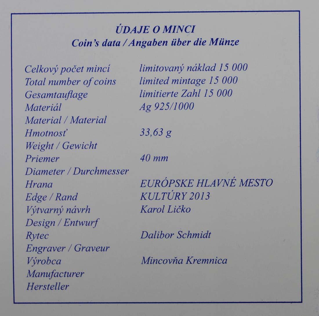 Zertifikat:Slowakei : 20 Euro Kosice  2013 PP