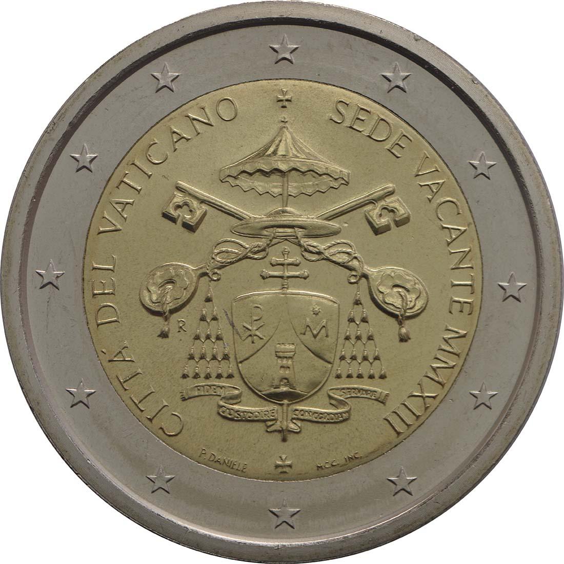 Rückseite :Vatikan : 2 Euro Sede Vacante  2013 Stgl.