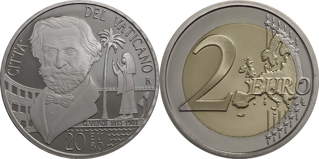 Vorderseite:Vatikan : 23,88 Euro KMS Vatikan Benedikt XVI. + 20 Euro Gedenkmünze Verdi  2013 PP KMS Vatikan 2013 PP SILBER