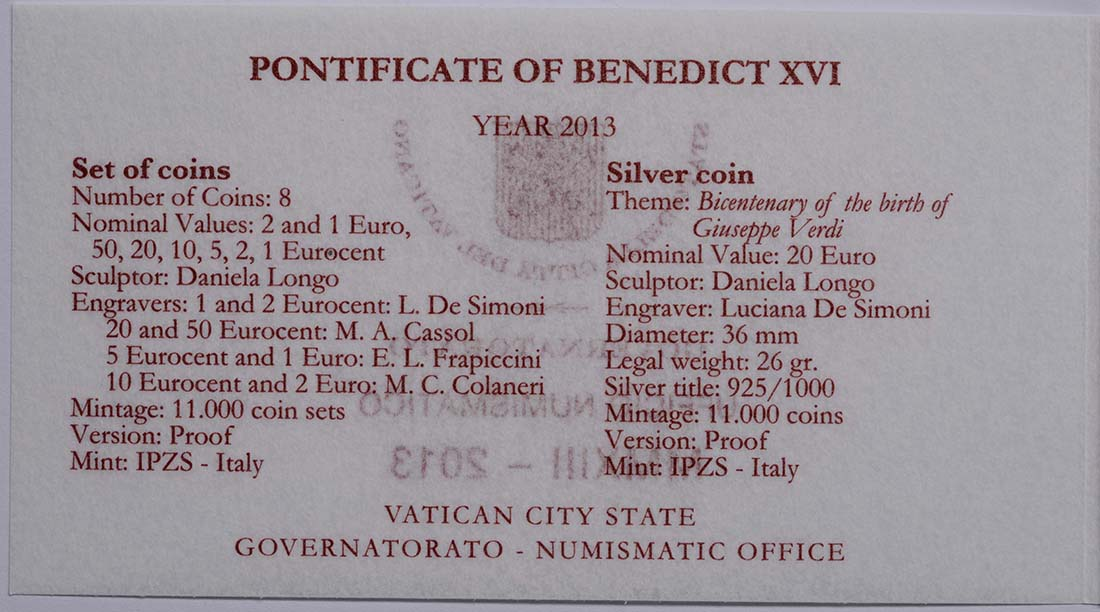 Zertifikat:Vatikan : 23,88 Euro KMS Vatikan Benedikt XVI. + 20 Euro Gedenkmünze Verdi  2013 PP KMS Vatikan 2013 PP SILBER