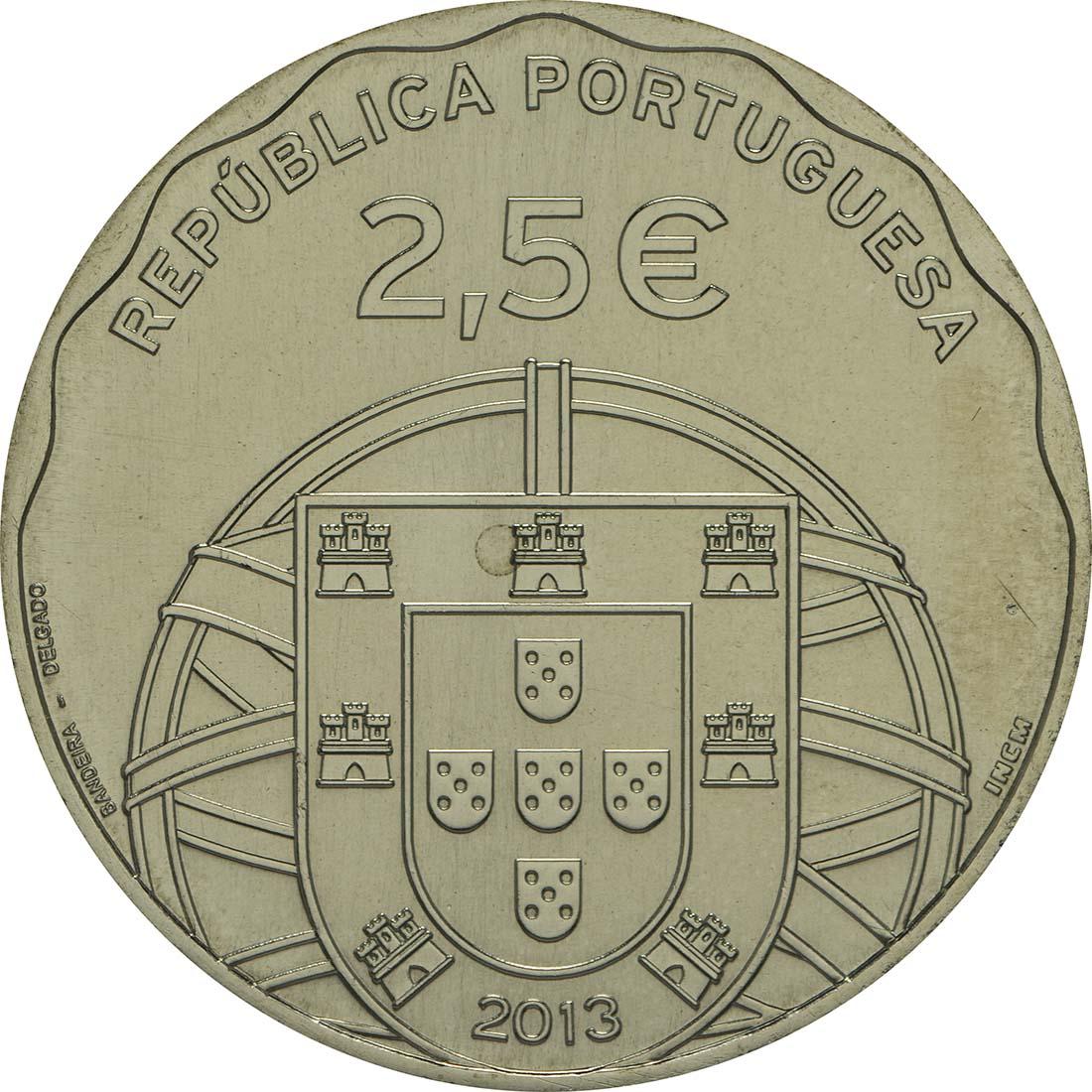 Rückseite:Portugal : 2,5 Euro 100 Jahre erstes portugiesisches U-Boot  2013 Stgl.
