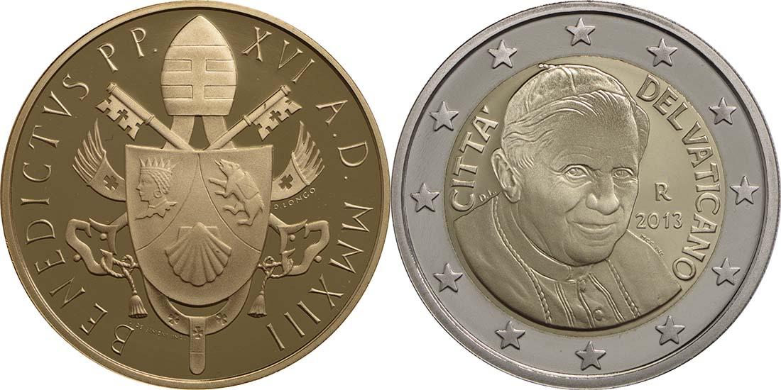 Rückseite:Vatikan : 53,88 Euro KMS Vatikan inkl. 50 Euro Goldmünze Richard Wagner  2013 PP
