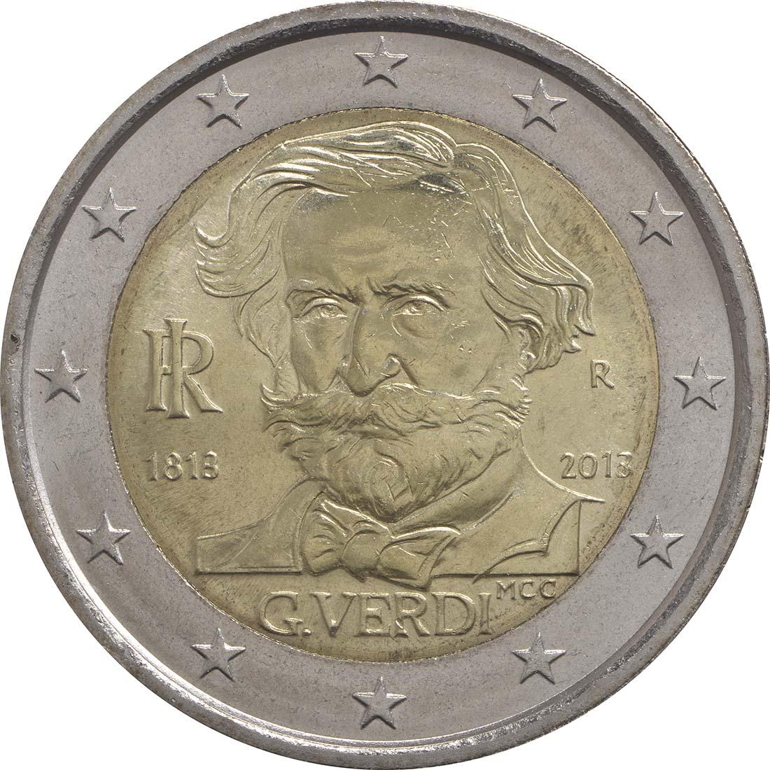 Rückseite :Italien : 2 Euro Guiseppe Verdi  2013 bfr