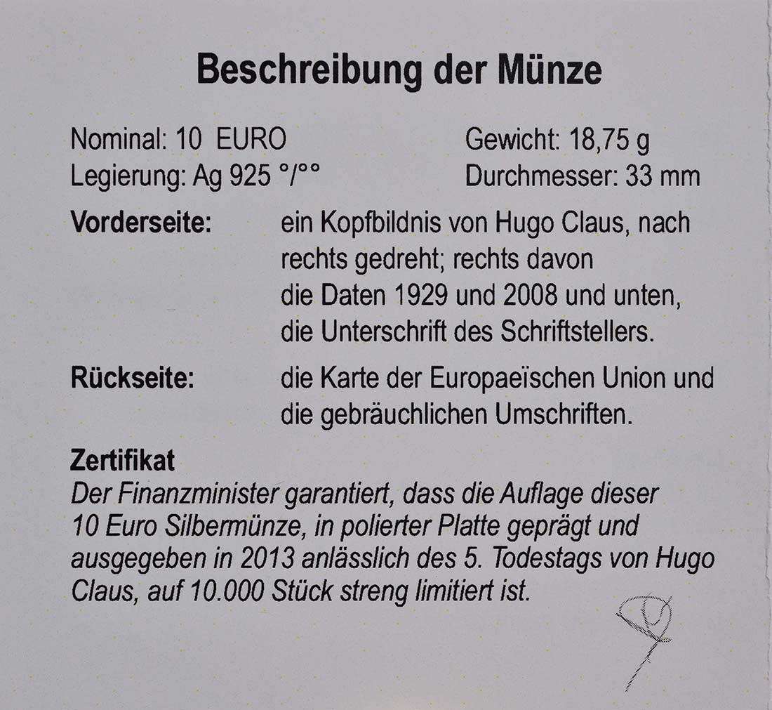 Zertifikat:Belgien : 10 Euro Hugo Claus  2013 PP