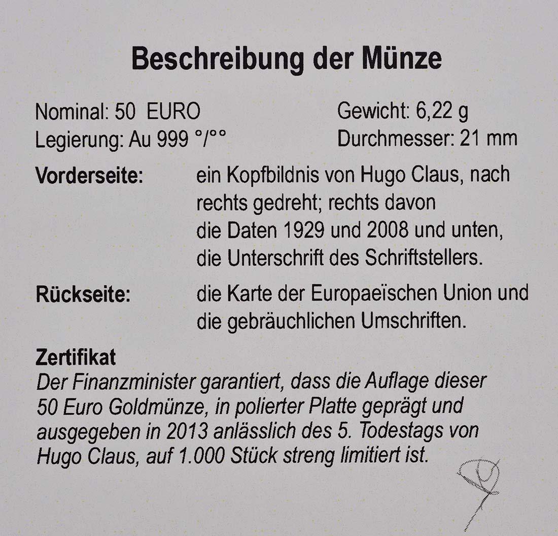 Zertifikat:Belgien : 50 Euro Hugo Claus  2013 PP