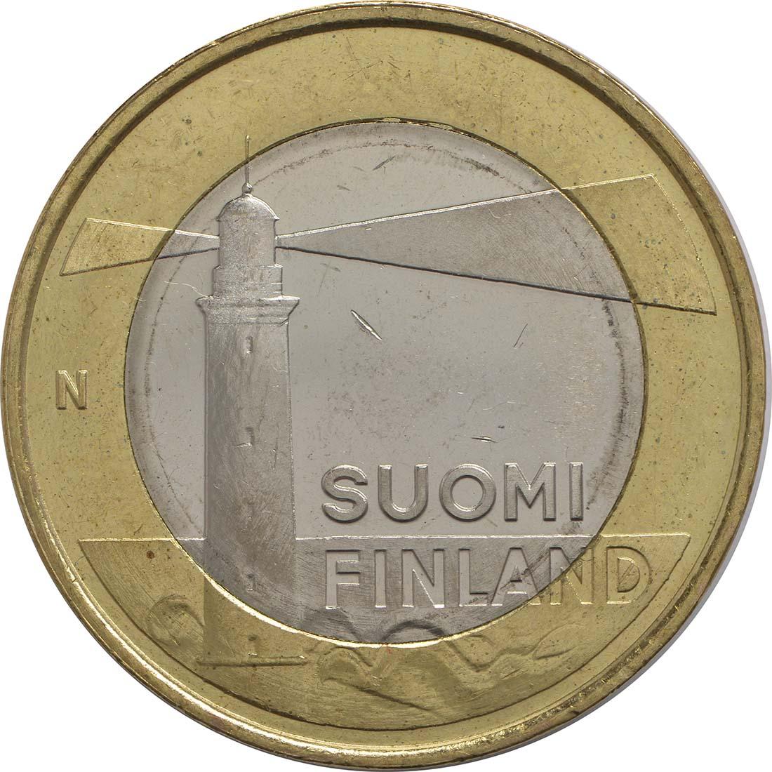 Vorderseite:Finnland : 5 Euro Aaland - Leuchtturm v. Sälskär  2013 Stgl.