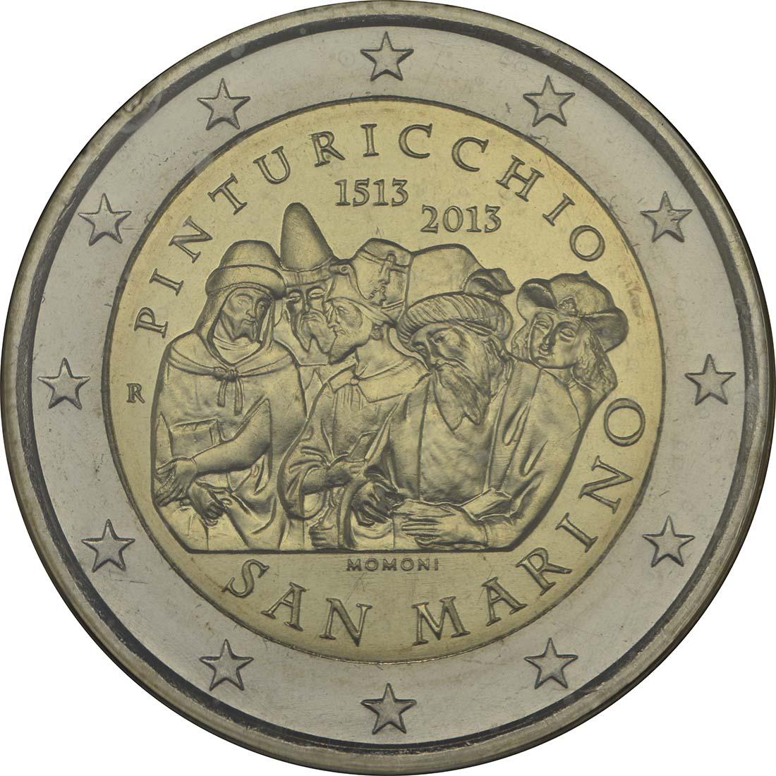 Rückseite:San Marino : 2 Euro Pinturicchio  2013 Stgl.