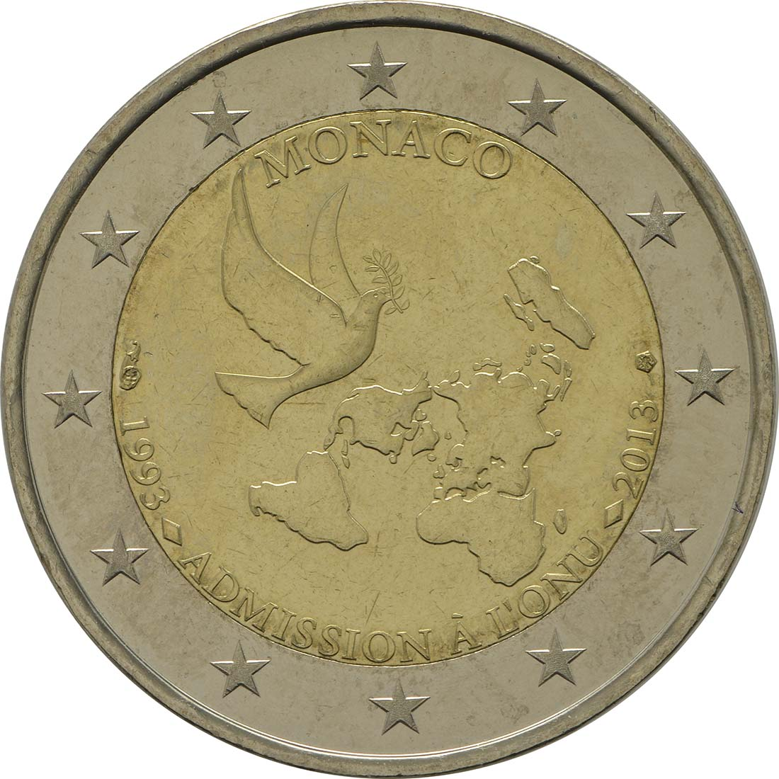Rückseite:Monaco : 2 Euro Uno  2013 bfr