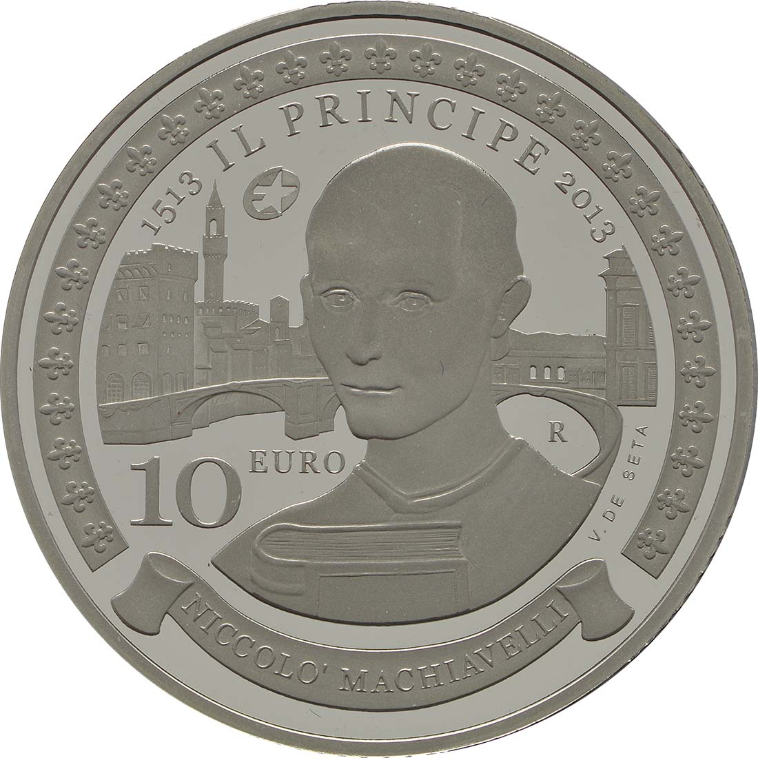 Vorderseite:San Marino : 10 Euro Niccoló Machiavelli  2013 PP