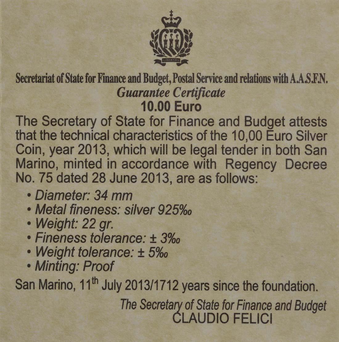 Zertifikat:San Marino : 10 Euro Niccoló Machiavelli  2013 PP
