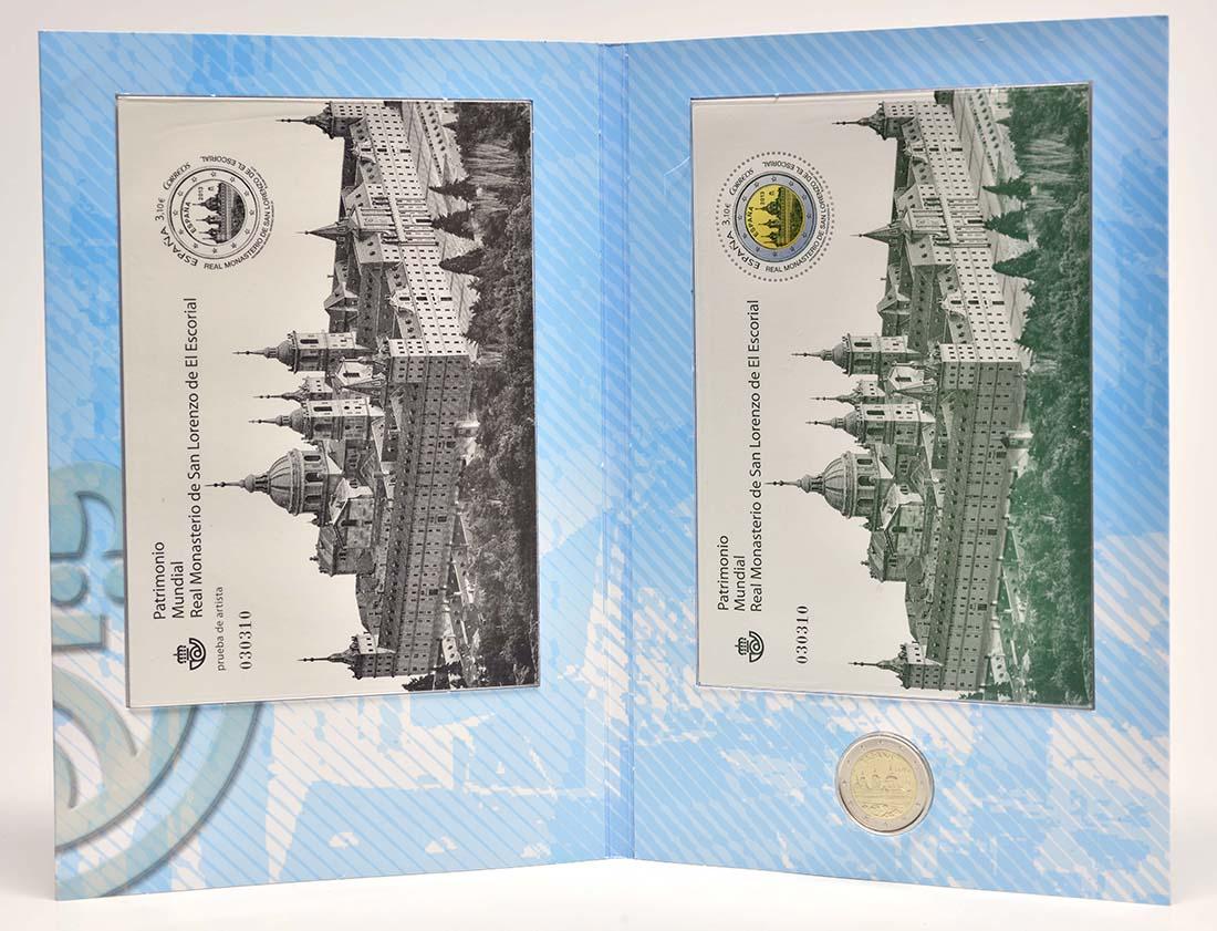 Lieferumfang :Spanien : 2 Euro El Escorial + Briefmarke  2013 Stgl.