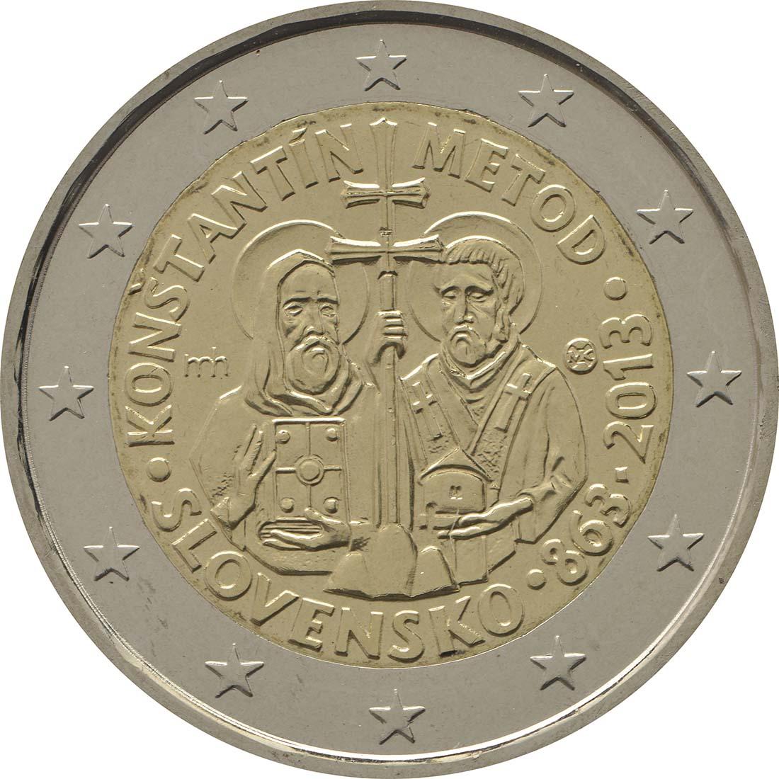 Rückseite:Slowakei : 2 Euro Cyrill und Method  2013 bfr