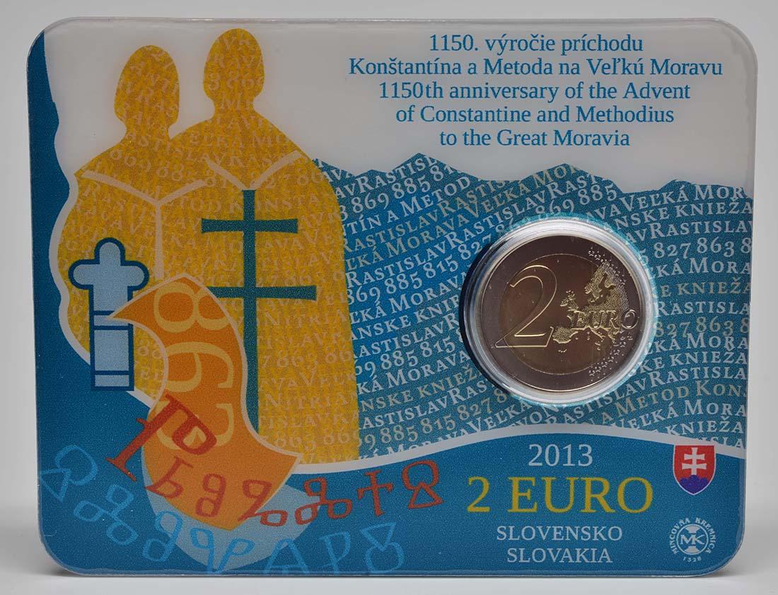 Lieferumfang:Slowakei : 2 Euro Cyrill und Method  2013 Stgl.