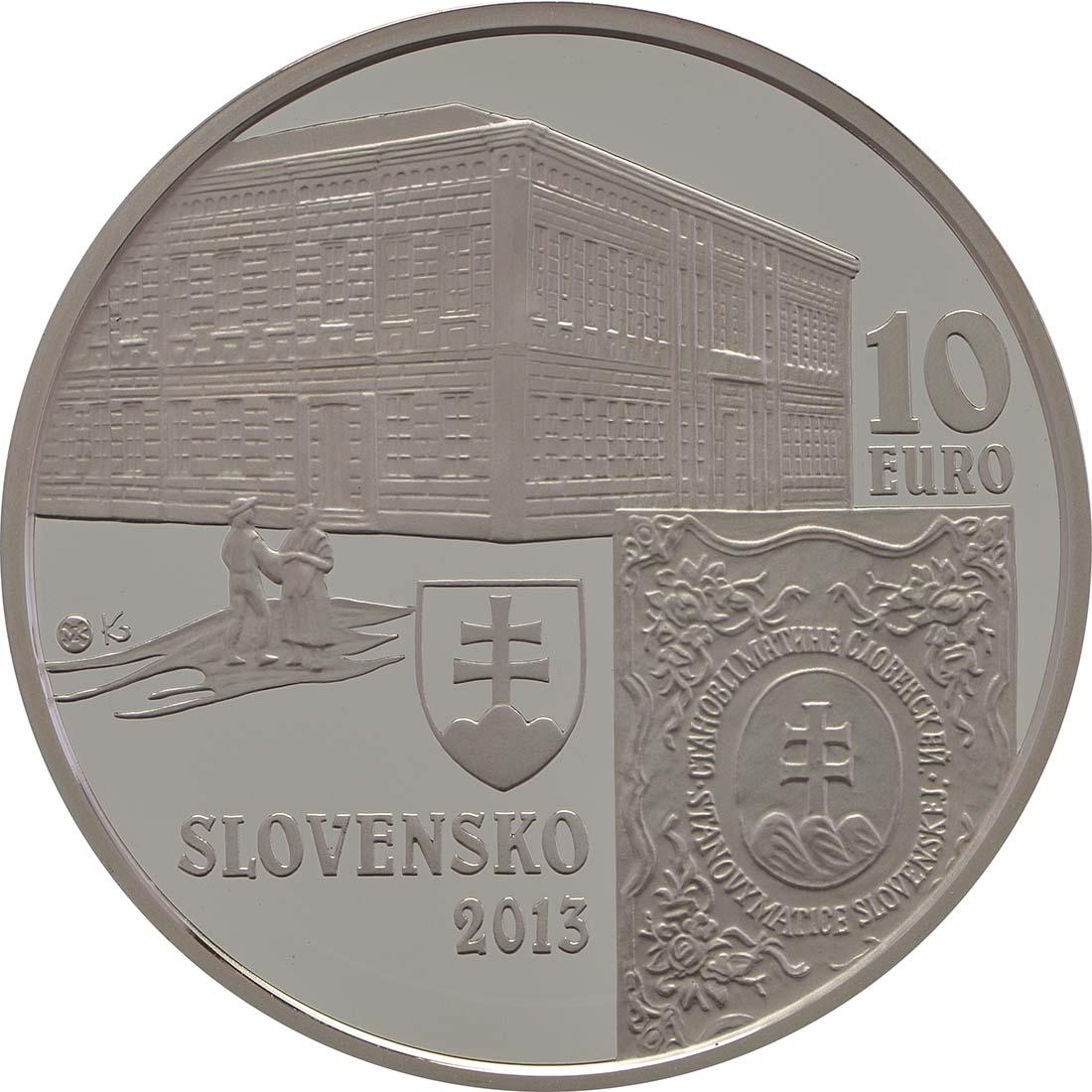 Rückseite:Slowakei : 10 Euro 150. Jahrestag der Matica Slovenska  2013 PP