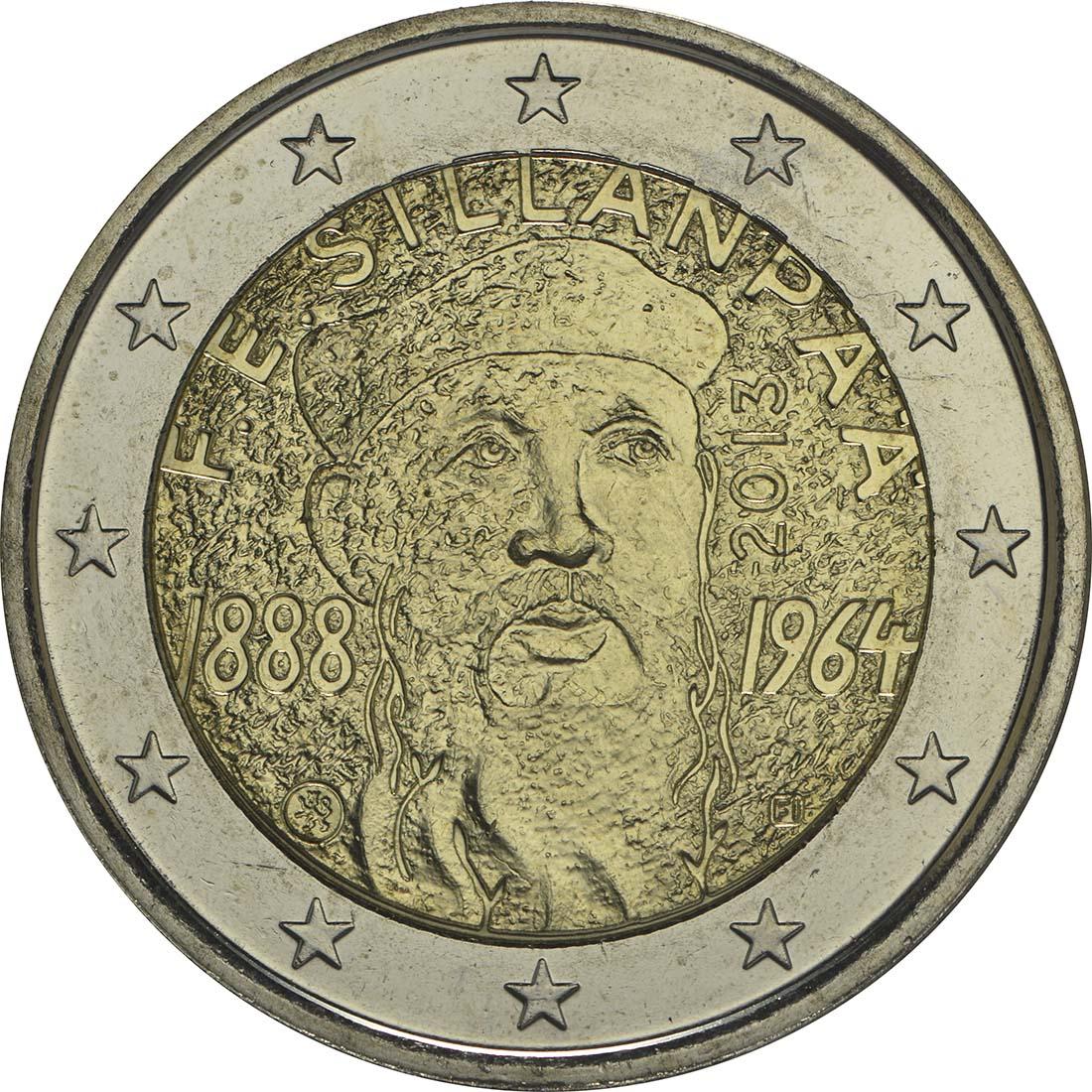 Rückseite:Finnland : 2 Euro Silanpää  2013 bfr