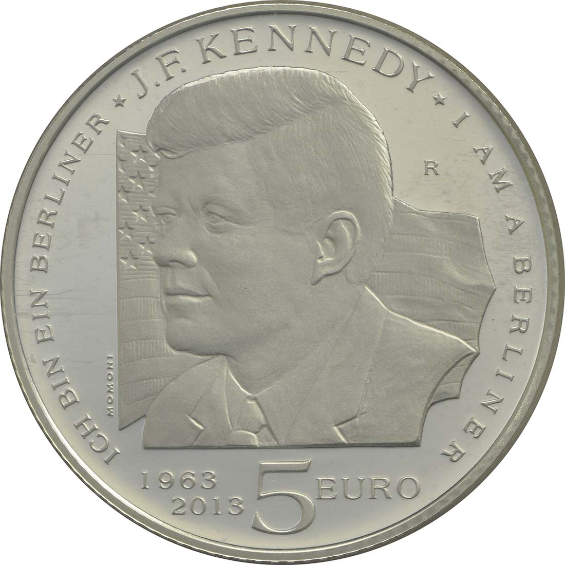 Vorderseite:San Marino : 5 Euro John F. Kennedy  2013 PP