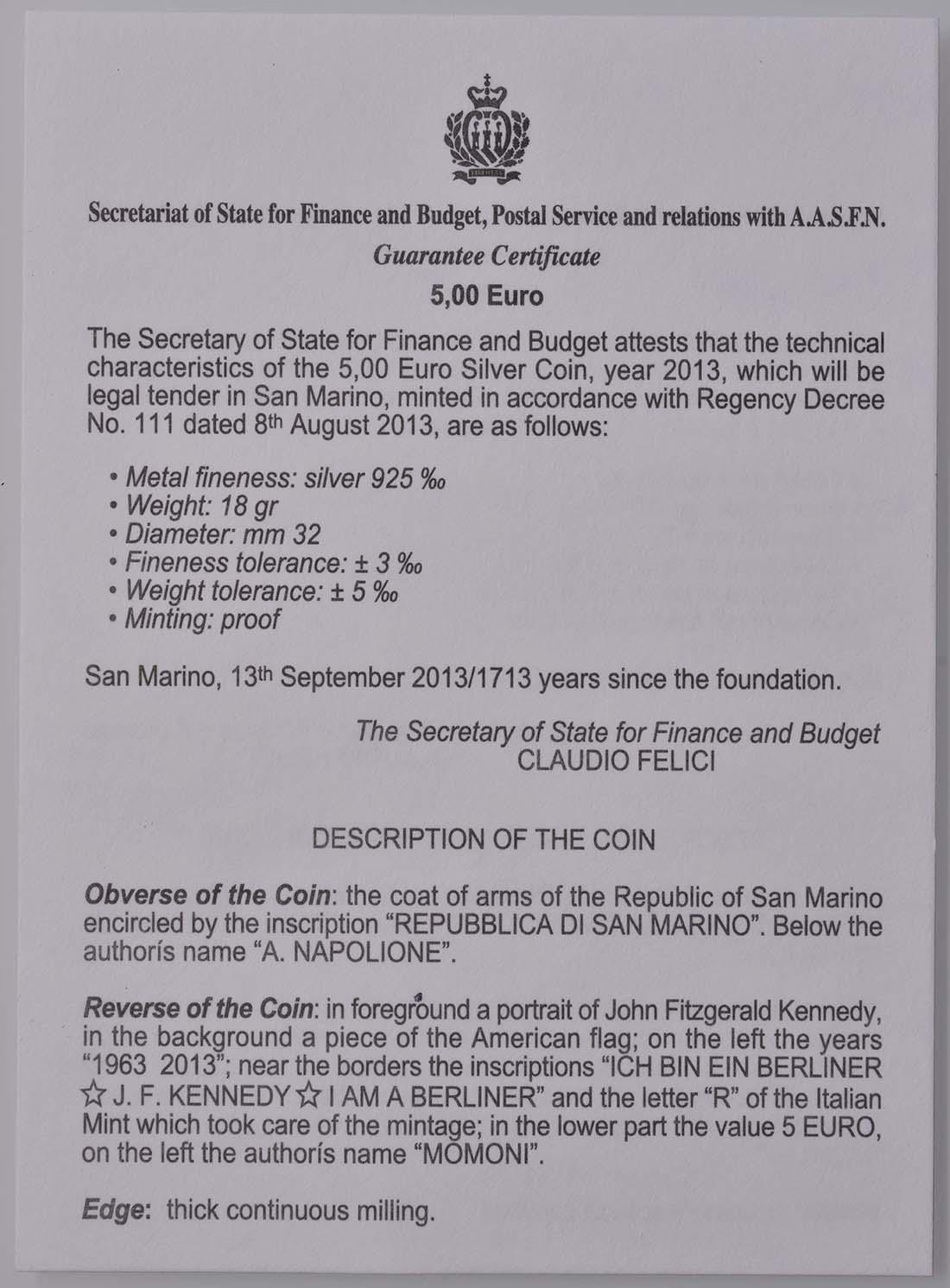 Zertifikat:San Marino : 5 Euro John F. Kennedy  2013 PP