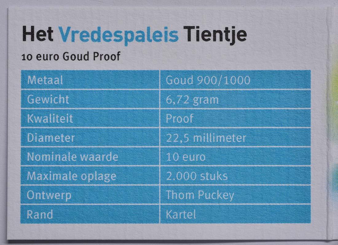 Zertifikat:Niederlande : 10 Euro 100 Jahre Friedenspalast  2013 PP