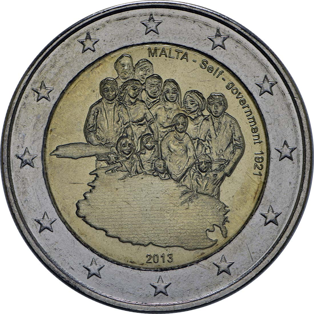 Rückseite :Malta : 2 Euro Selbstverwaltung  2013 bfr