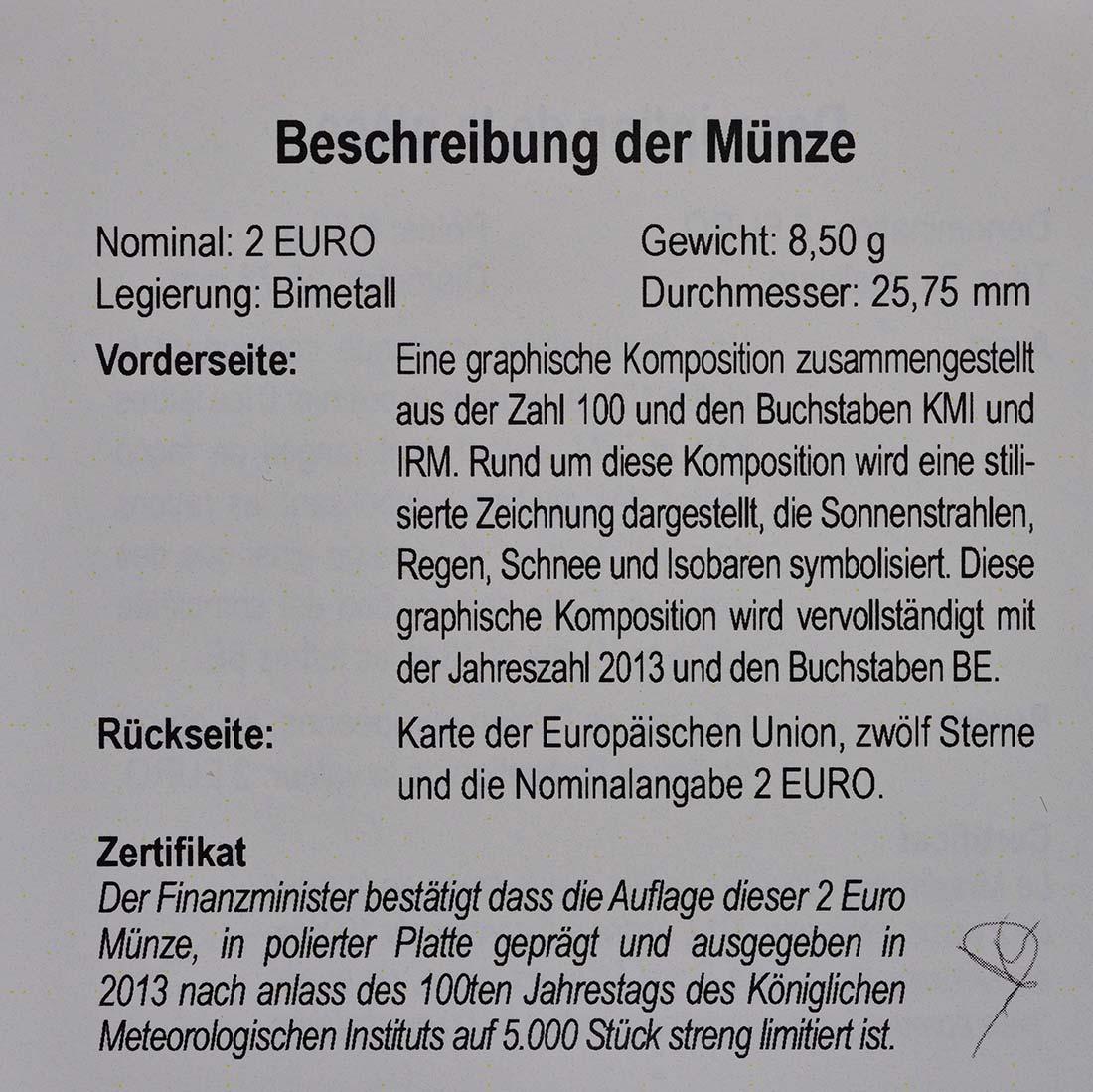 Zertifikat:Belgien : 2 Euro Meteorologisches Institut  2013 PP