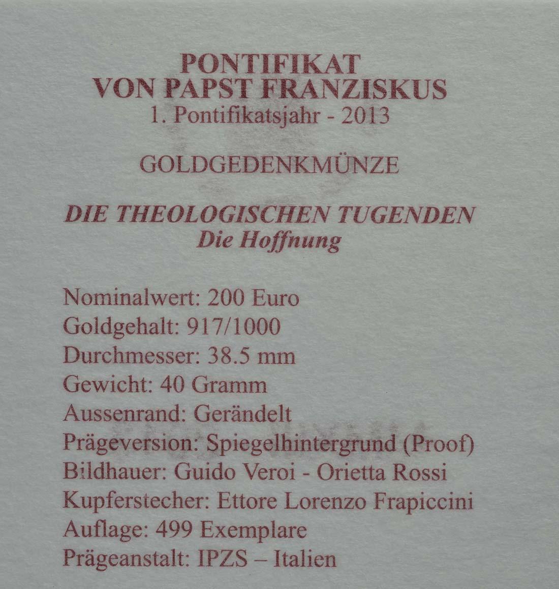 Zertifikat:Vatikan : 200 Euro Die theologischen Tugenden : Die Hoffnung  2013 PP
