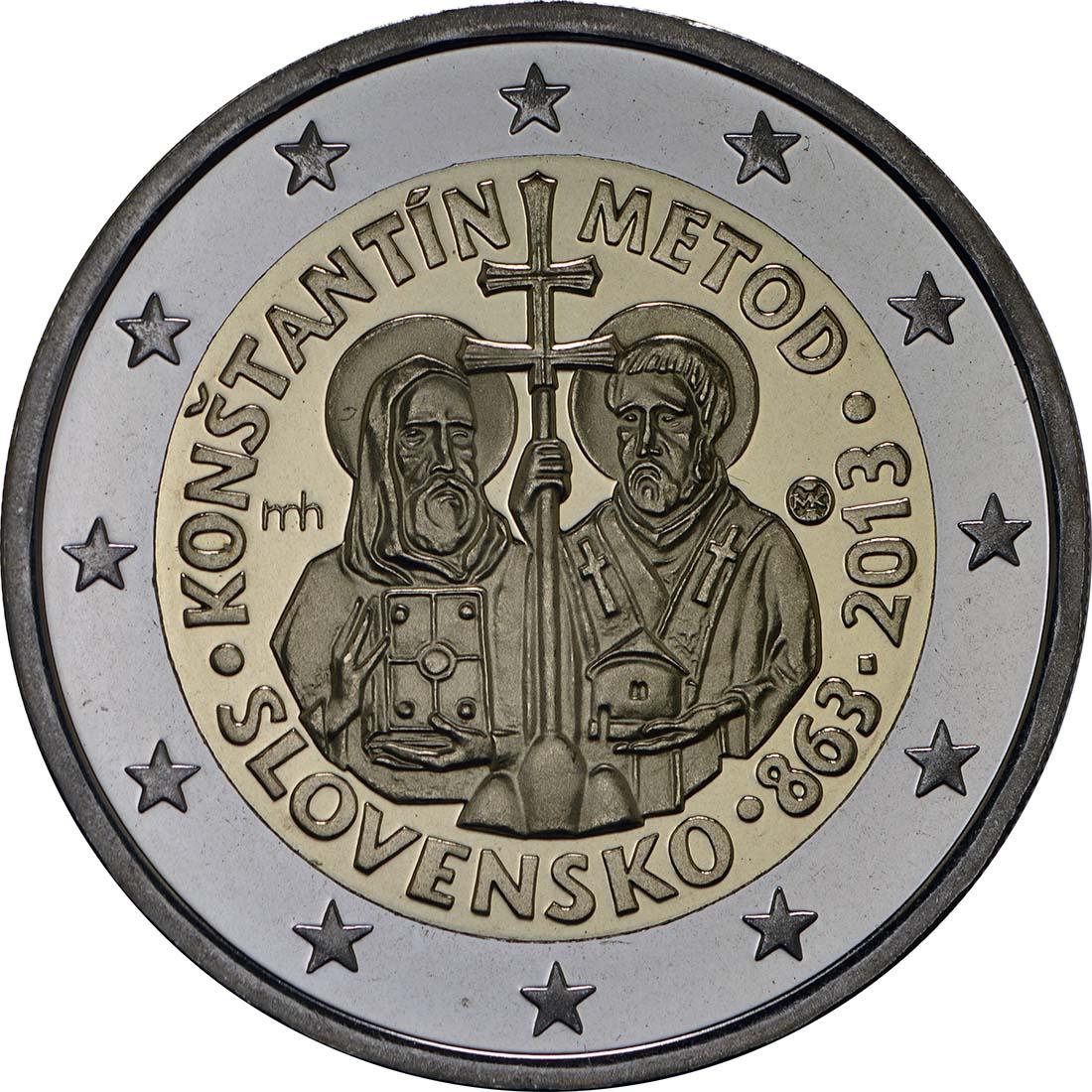 Rückseite:Slowakei : 2 Euro Cyrill und Method  2013 PP