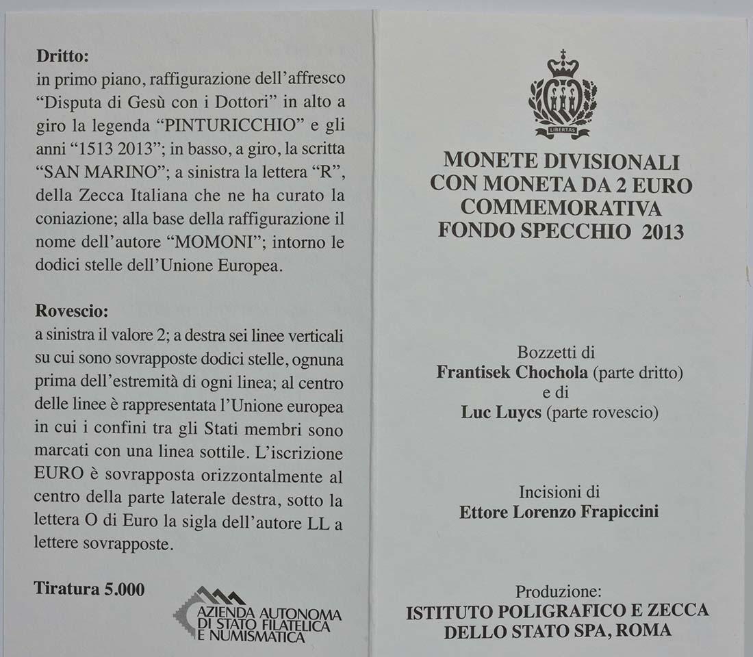 Zertifikat:San Marino : 5,88 Euro KMS San Marino Pinturicchio  2013 PP