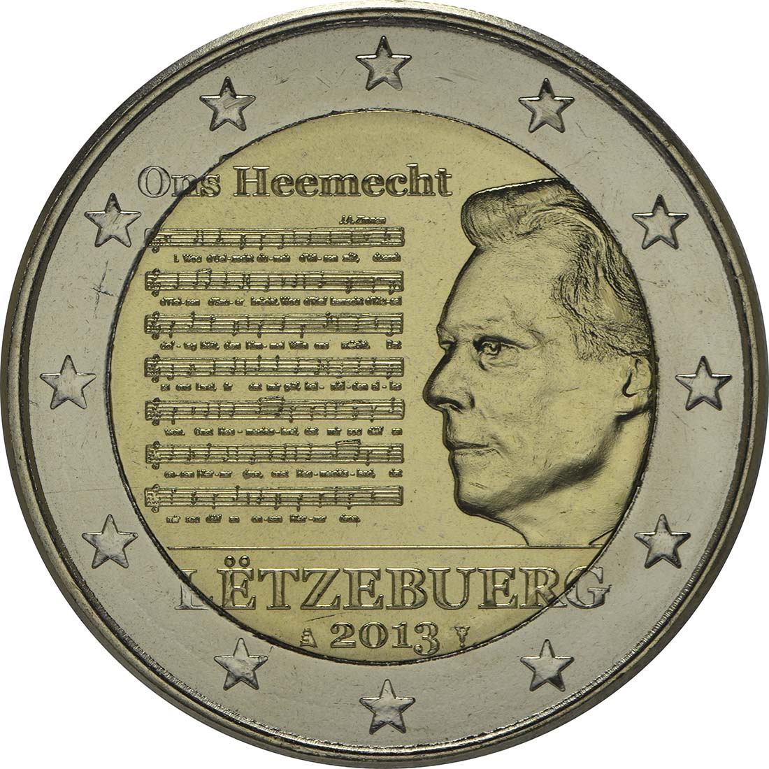 Rückseite :Luxemburg : 2 Euro Nationalhymne  2013 bfr