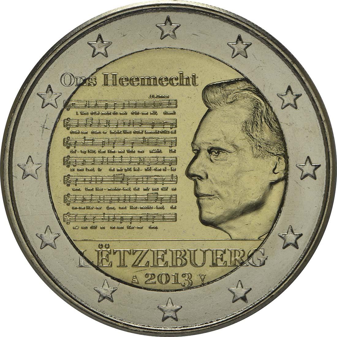 Rückseite:Luxemburg : 2 Euro Nationalhymne  2013 bfr