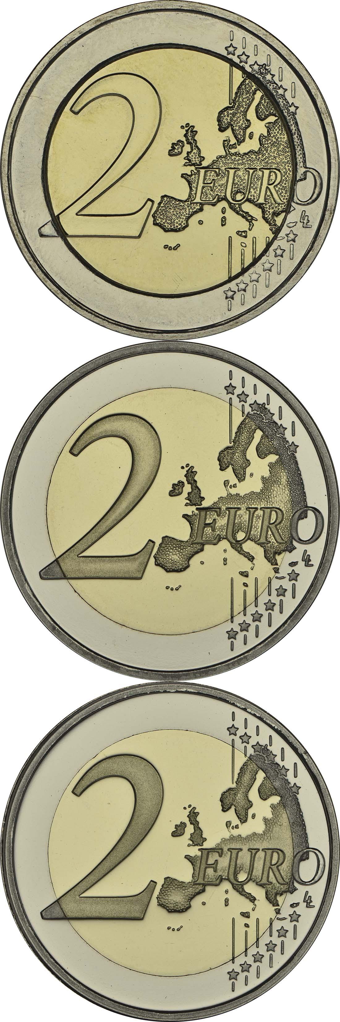 Vorderseite:Niederlande : 6 Euro Königreich Set: 3x2 Euro 1x farbig PP, 1x Stgl., 1x PP  2013 Stgl.