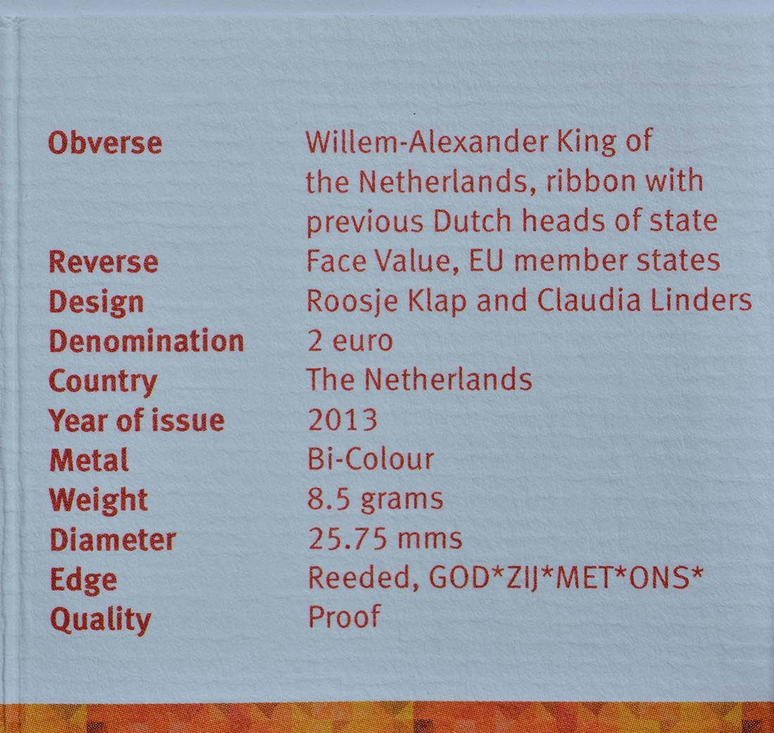Zertifikat :Niederlande : 2 Euro Königreich  2013 PP
