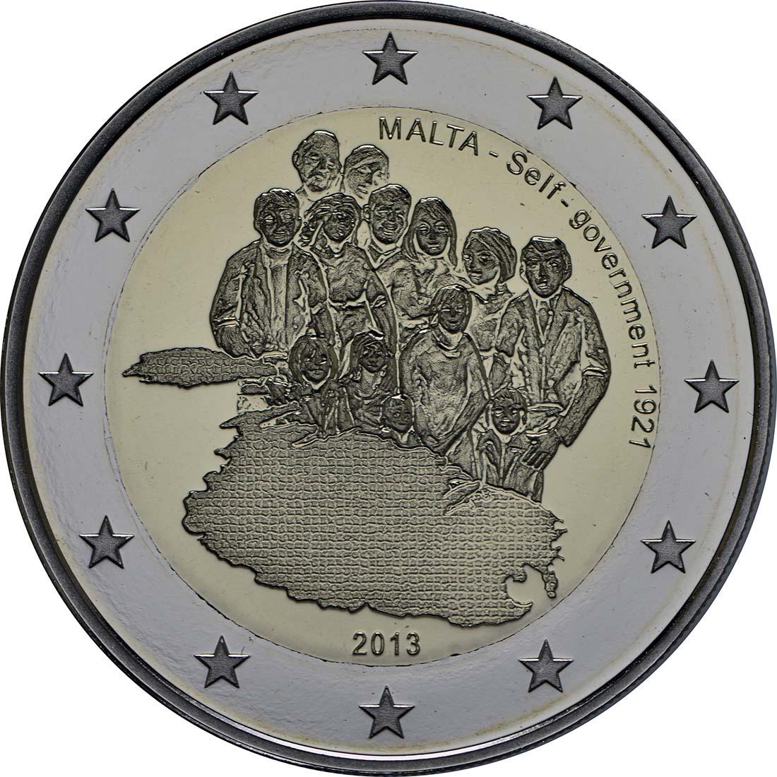 Rückseite :Malta : 2 Euro Selbstverwaltung  2013 PP