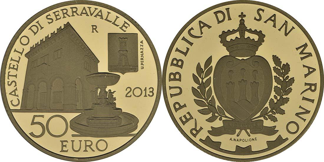 Vorderseite:San Marino : 70 Euro Set: 20+50 Euro Architektonische Elemente , Dorf von Serravalle  2013 PP