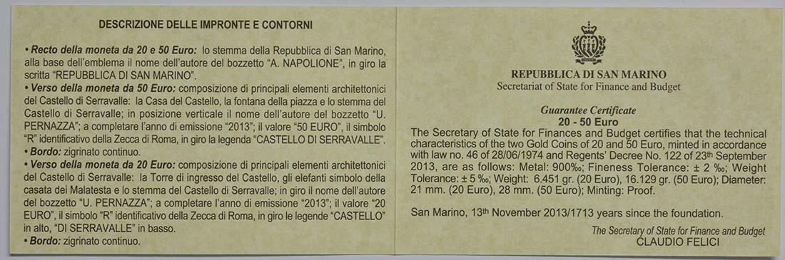 Zertifikat:San Marino : 70 Euro Set: 20+50 Euro Architektonische Elemente , Dorf von Serravalle  2013 PP