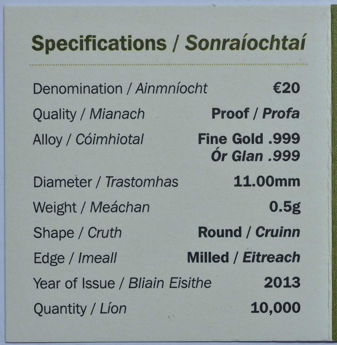 Zertifikat:Irland : 20 Euro The Rock of Cashel  2013 PP