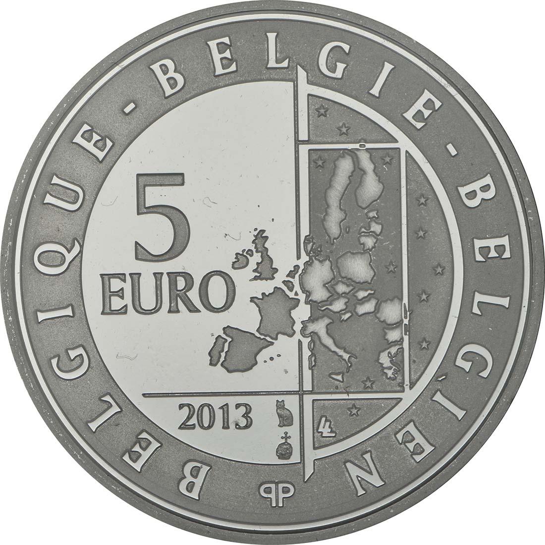 Rückseite:Belgien : 5 Euro 75 Jahre Spirou  2013 PP