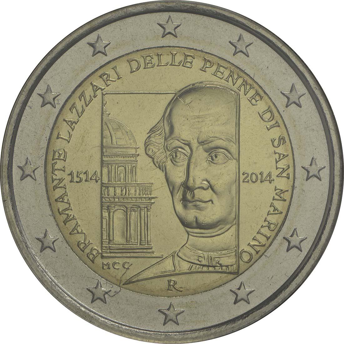 Rückseite:San Marino : 2 Euro 500. Todestag Donato Bramante  2014 Stgl.
