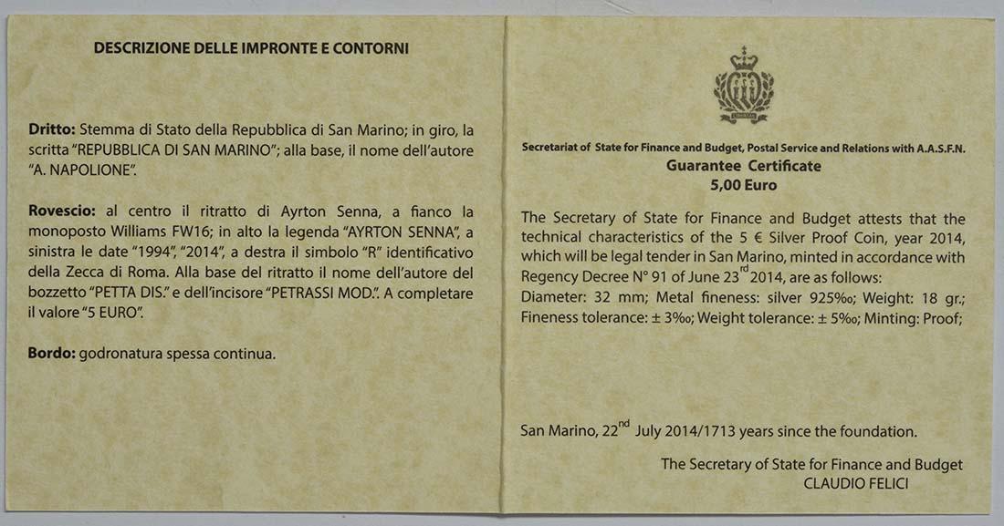 Zertifikat:San Marino : 5 Euro Ayrton Senna  2014 PP